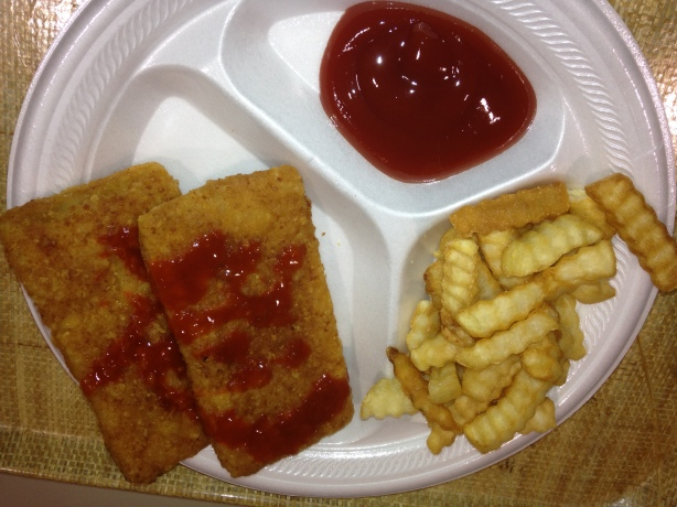 Fish plate. Ketchup for fries.